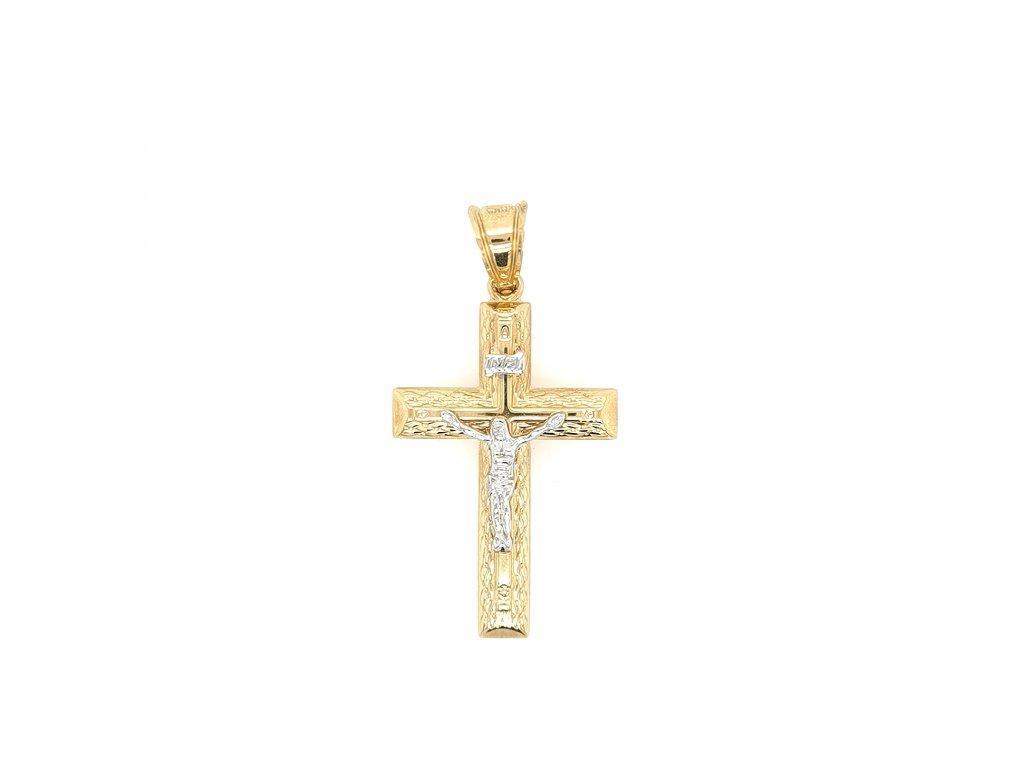 Pánský přívěšek kříž 585/1000 z kombinace žlutého a bílého zlata