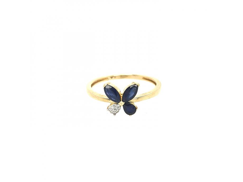 Dámský prsten ze žlutého zlata 585/1000 s brilianty a safíry