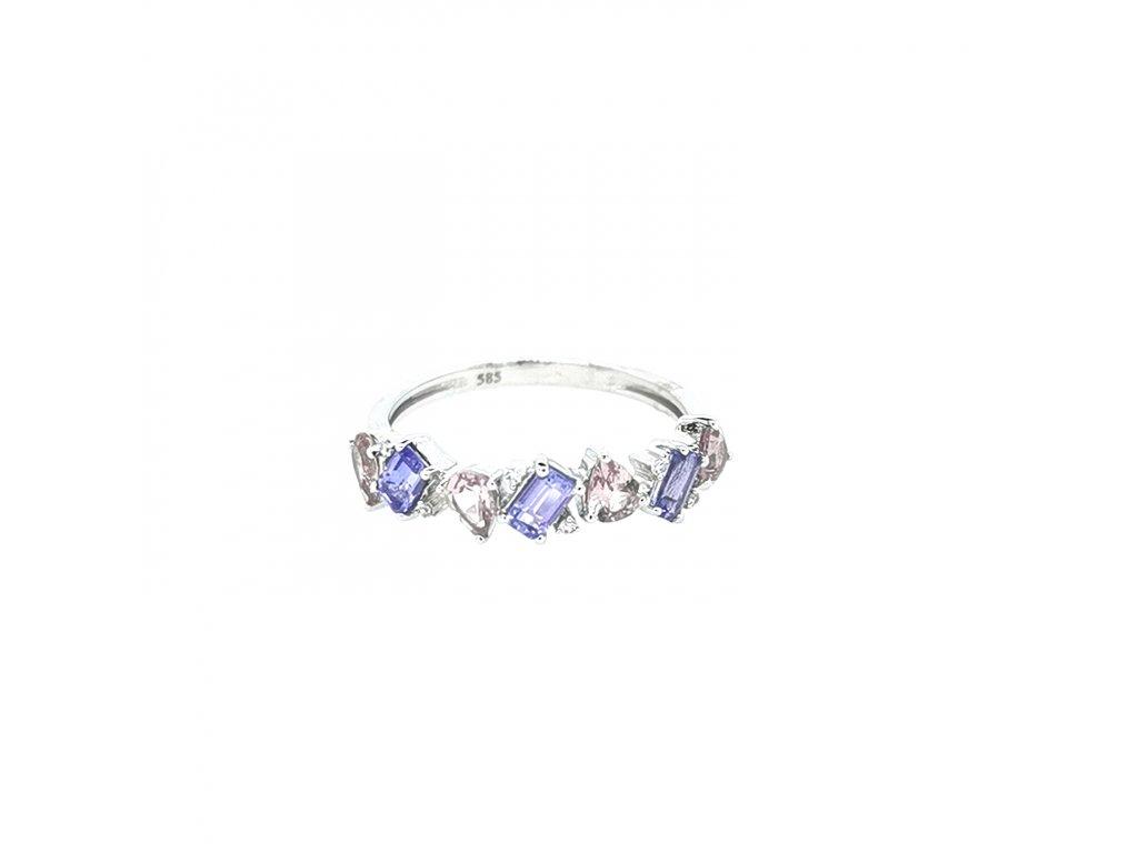 Dámský prsten z bílého zlata 585/1000 s brilianty a tanzanitem