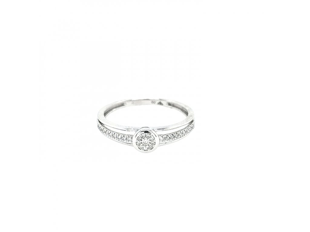 Dámský prsten z bílého zlata 585/1000 s brilianty