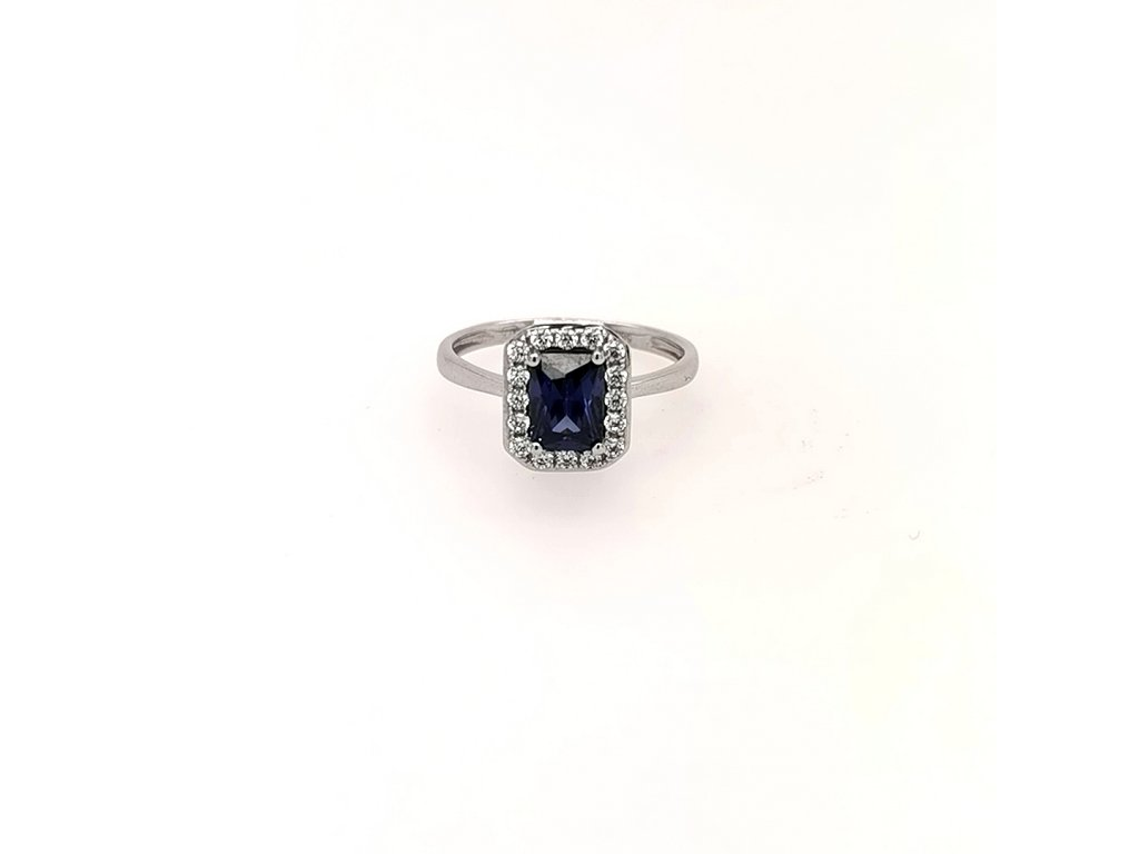Dámský prsten z bílého zlata 585/1000 se zirkony a modrým kamenem