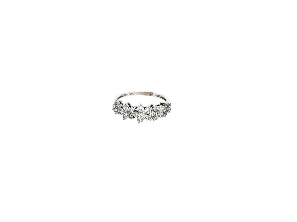 Dámský prsten z bílého zlata 585/1000 se zirkony