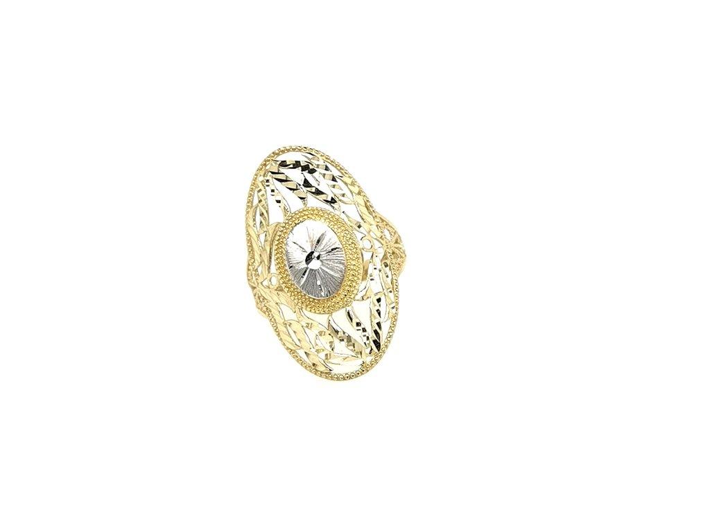 Dámský široký zlatý prsten 585/1000