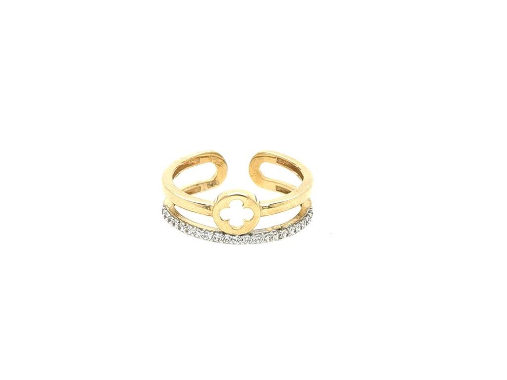 Dámský zlatý prsten 585/1000 se zirkony