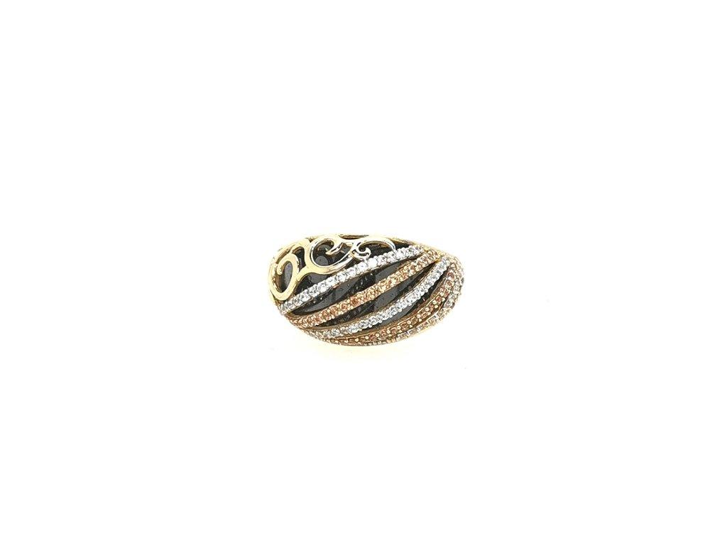 Dámský kombinovaný zlatý prsten 585/1000