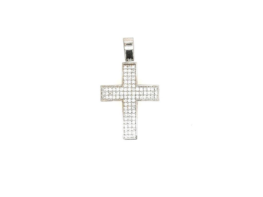 Přívěšek z bílého zlata 585/1000 s motivem kříže
