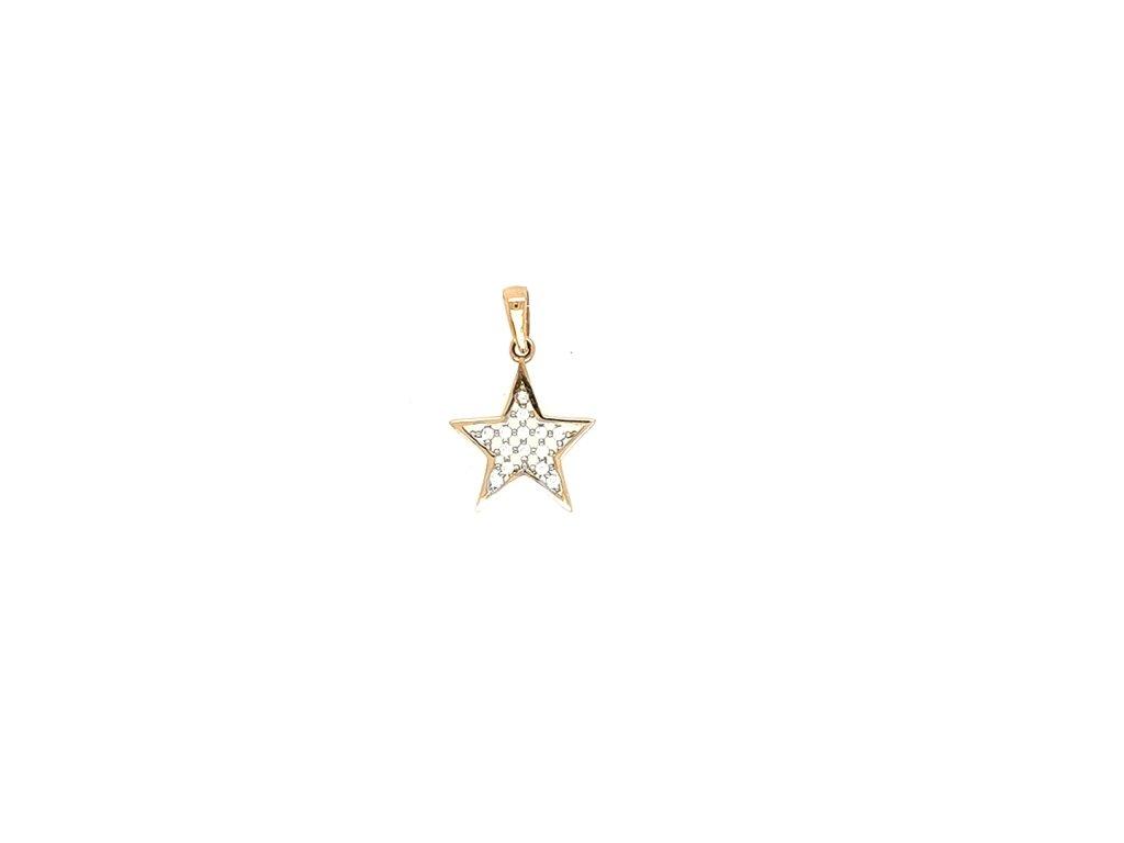 Přívěšek z růžového zlata 585/1000 s motivem hvězdy