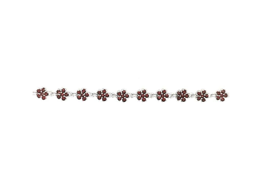 Stříbrný náramek s českým granátem 925/1000