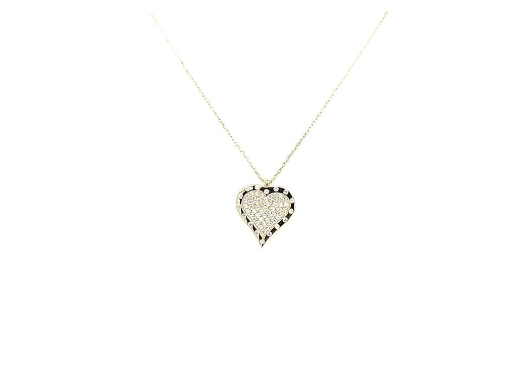Dámský náhrdelník ze žlutého zlata 585/1000 s motivem srdce se zirkony