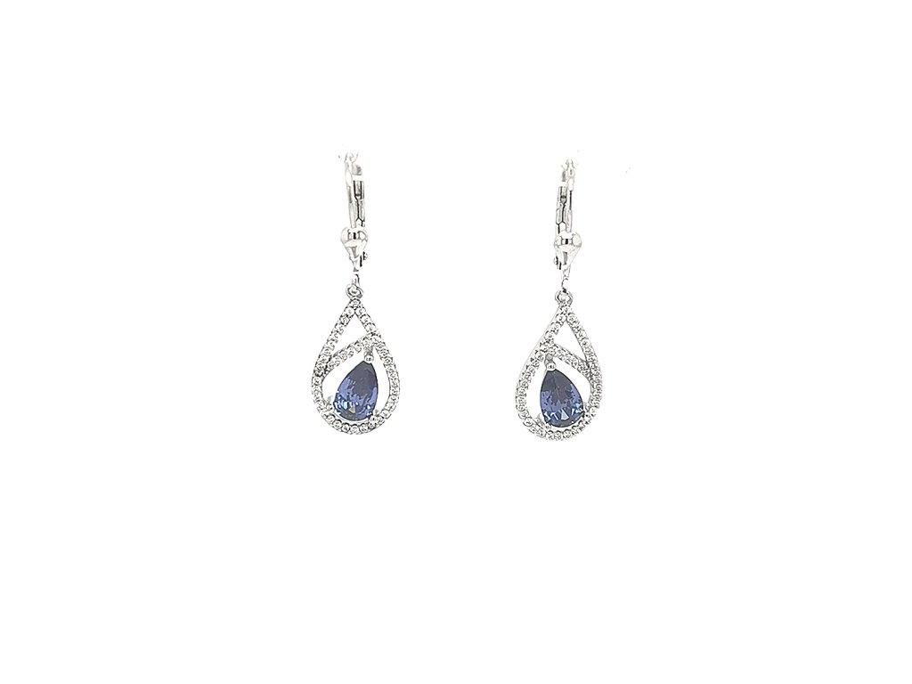 Dámské visací stříbrné náušnice 925/1000 s modrým zirkonem