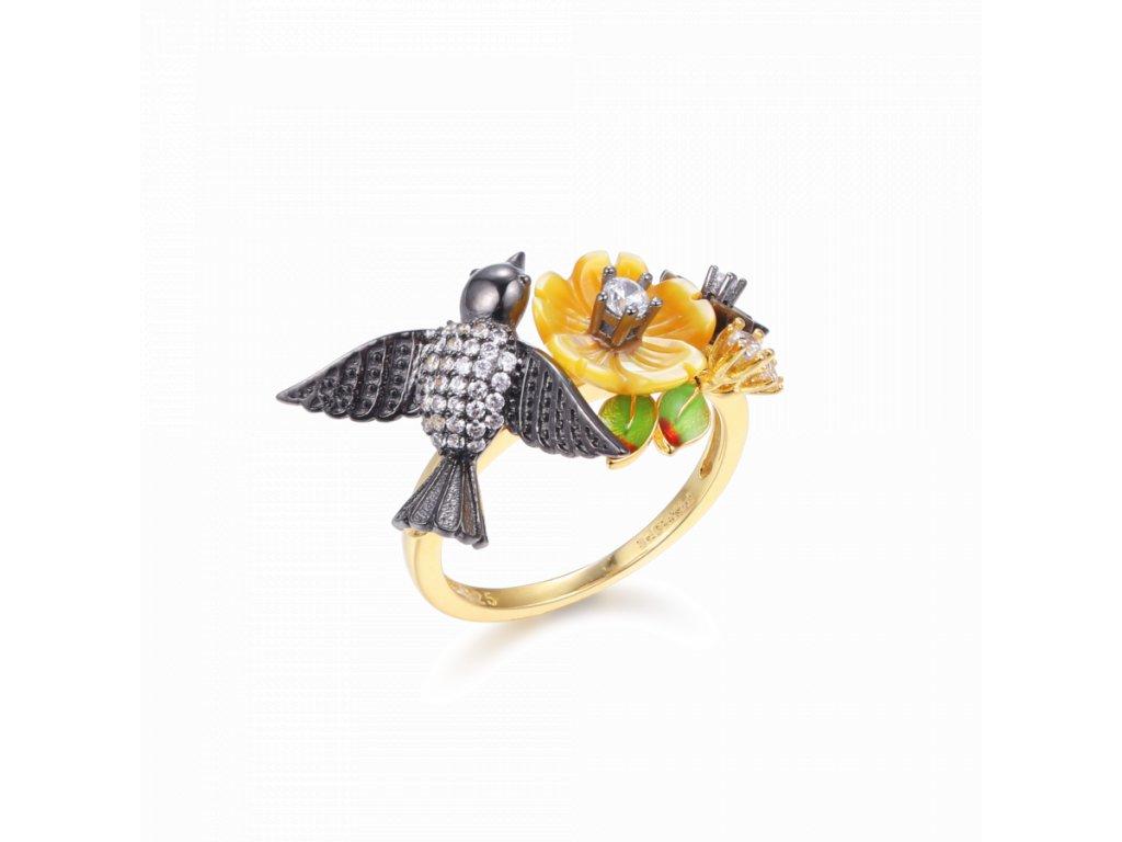 Stříbrný Prsten Summer Harmony s motivem ptáčka