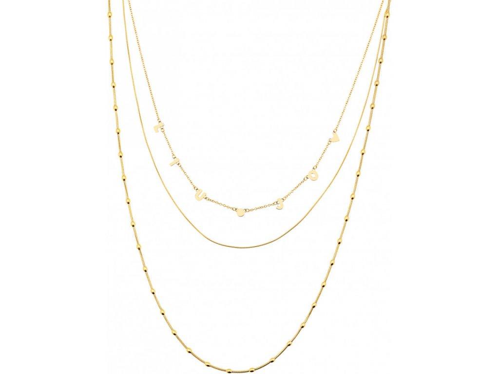 Trojitý dámský náhrdelník LIU JO LJ1427 z pozlacené chirurgické oceli