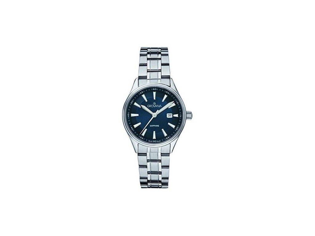 Dámské hodinky Grovana 3194.1135 s ocelovým řemínkem a modrým číselníkem