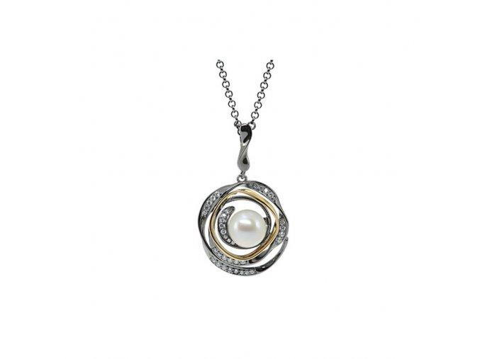 Stříbrný náhrdelník Heart of the Sea zdobený perlou