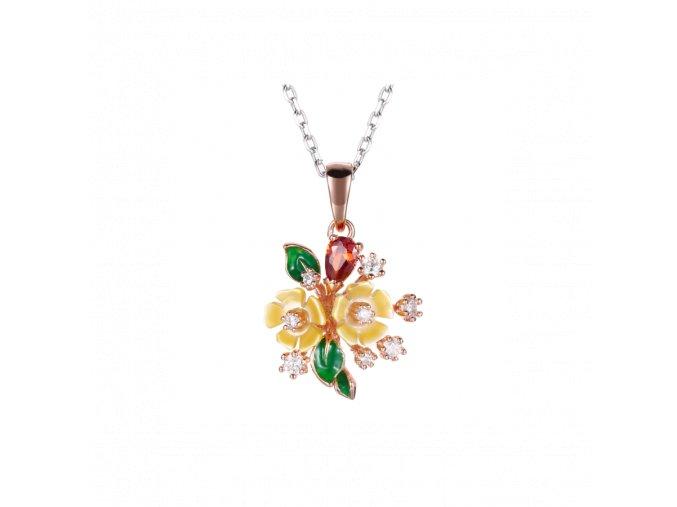 Stříbrný náhrdelník White Wine se žlutou květinkou