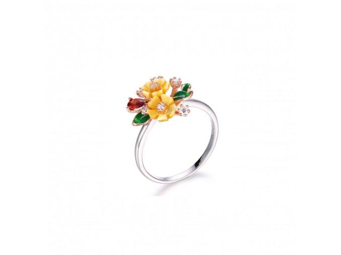 Stříbrný prsten White Wine s motivem žluté květiny