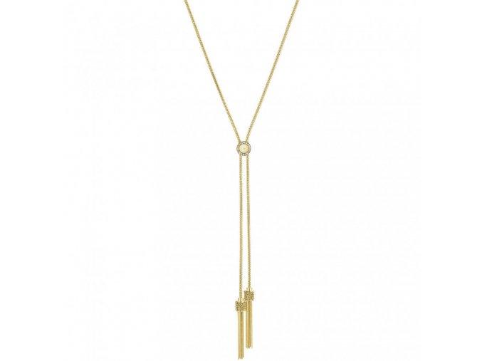 Pozlacený náhrdelník LIU JO LJ1328 z chirurgické oceli s třásněmi