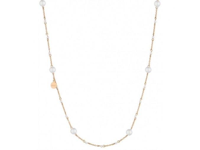 Růžově zlacený dámský náhrdelník LIU JO LJ1506 z chirurgické oceli s perlami