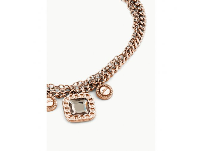 Pozlacený dámský náramek LIU JO LJ1282 z chirurgické oceli zdobený krystalem