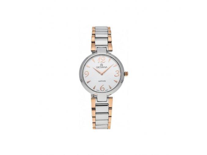 Dámské hodinky Grovana 4556.1152 s ocelovým rosegold řemínkem
