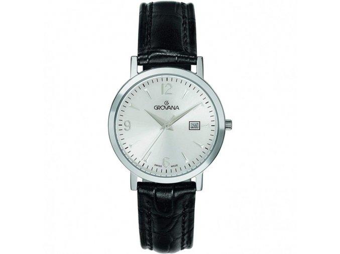 Dámské hodinky Grovana 3230.1532 s černým koženým řemínkem