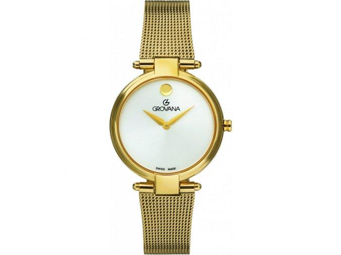 Pozlacené dámské hodinky Grovana 4516.1912 s ocelovým řemínkem