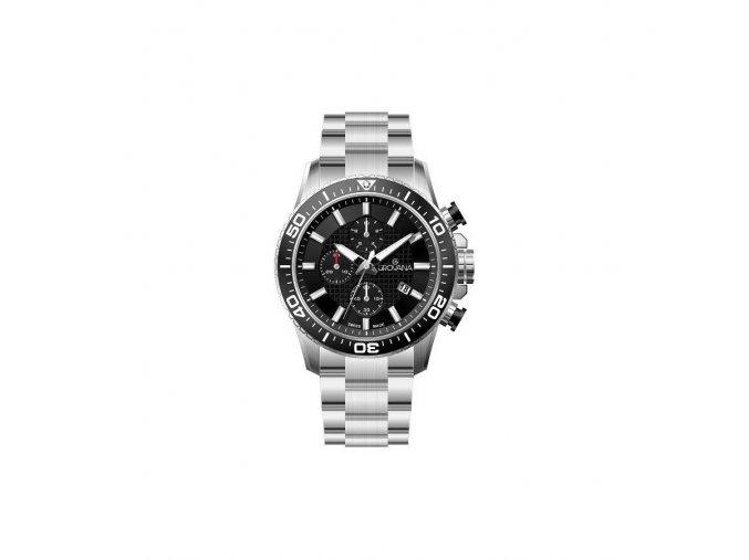 Pánské hodinky Grovana 7037.9137 s ocelovým řemínkem a černým ciferníkem