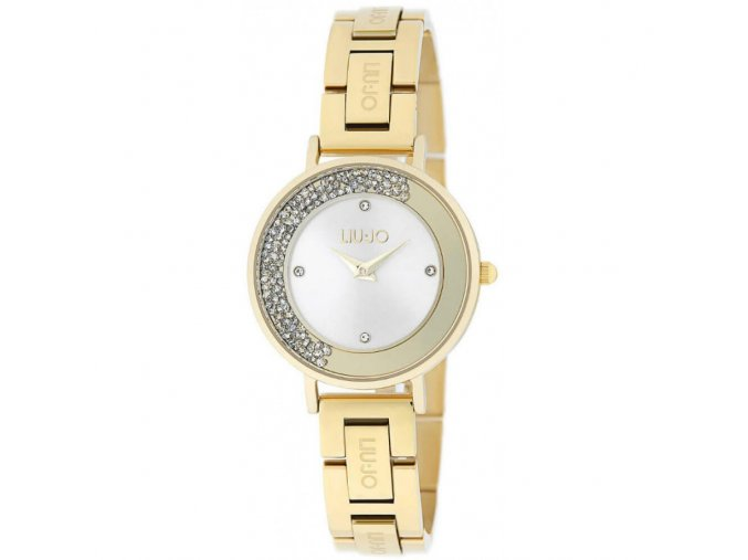 Pozlacené dámské hodinky LIU JO TLJ1685 Dancing Unique s krystaly