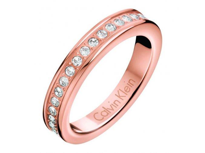 Dámský pozlacený prsten Calvin Klein KJ06PR140107 z chirurgické oceli s krystaly