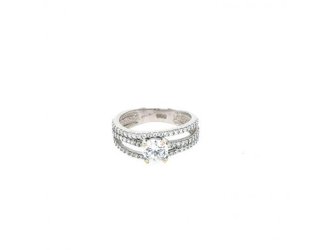 Moderní dámský prsten z bílého zlata 585/1000 se zirkony