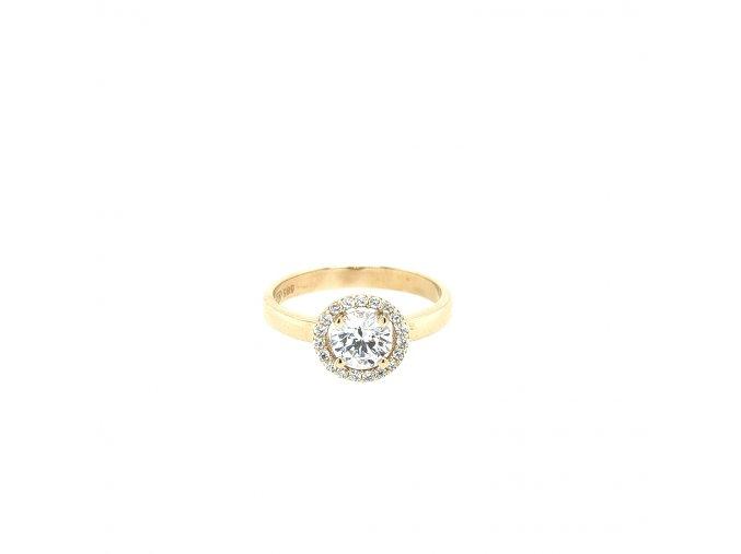 Dámský prsten ze žlutého zlata zdobený zirkony 585/1000