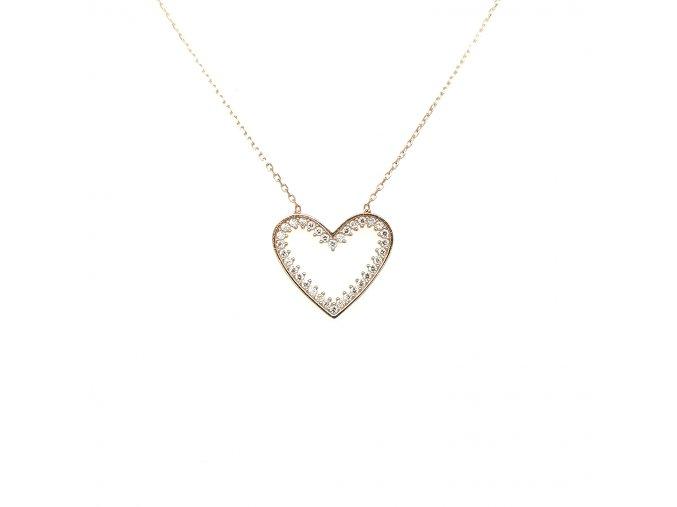 Řetízek z růžového zlata 585/1000 s motivem srdce se zirkony