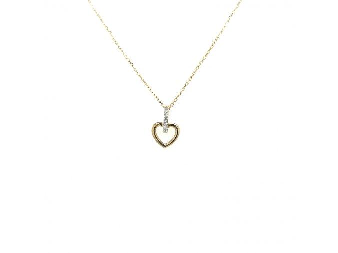 Přívěšek ze žlutého zlata 585/1000 s brilianty a motivem srdce