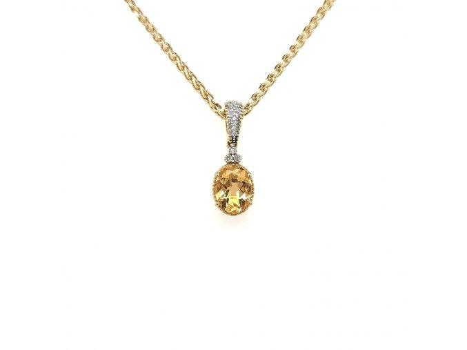 Přívěšek ze žlutého zlata 585/1000 s brilianty a citrínem
