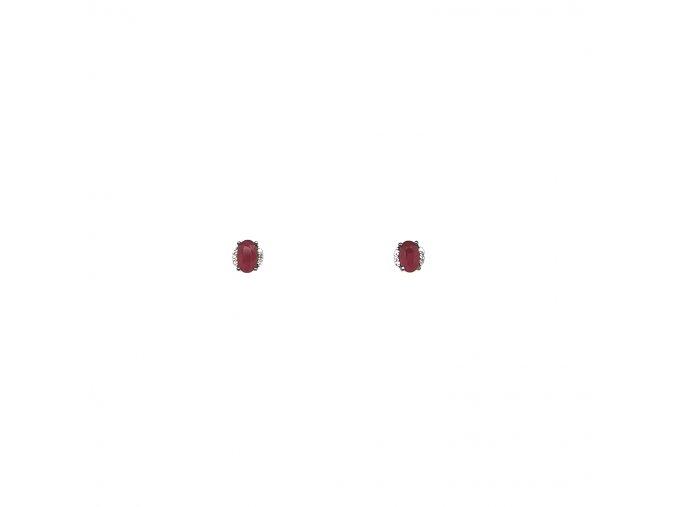 Dámské náušnice z bílého zlata 585/1000 s brilianty a rubínem