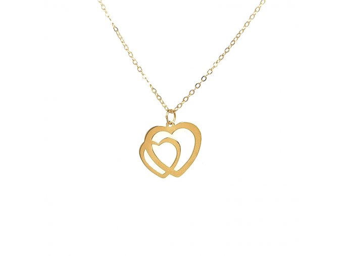 Dámský náhrdelník ze žlutého zlata 585/1000 s motivem srdíček