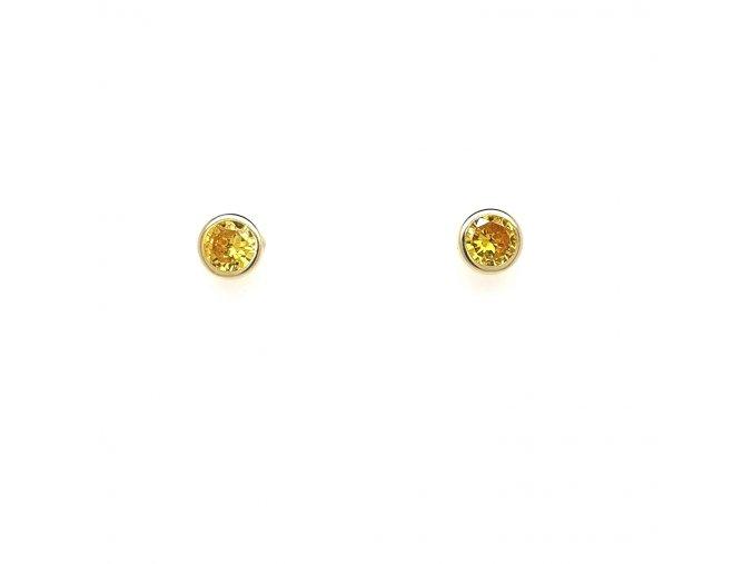 Dámské náušnice ze žlutého zlata 585/1000 se zirkony