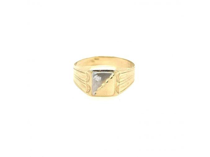 Pánský prsten ze žlutého zlata 585/1000 s bílým zlatem