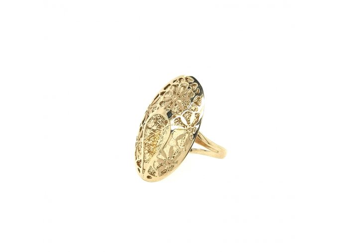 Dámský prsten ze žlutého zlata 585/1000 s gravírováním