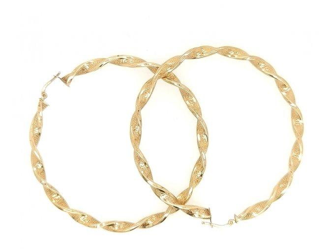 Dámské náušnice kruhy ze žlutého zlata 585/1000 a řeckým vzorem