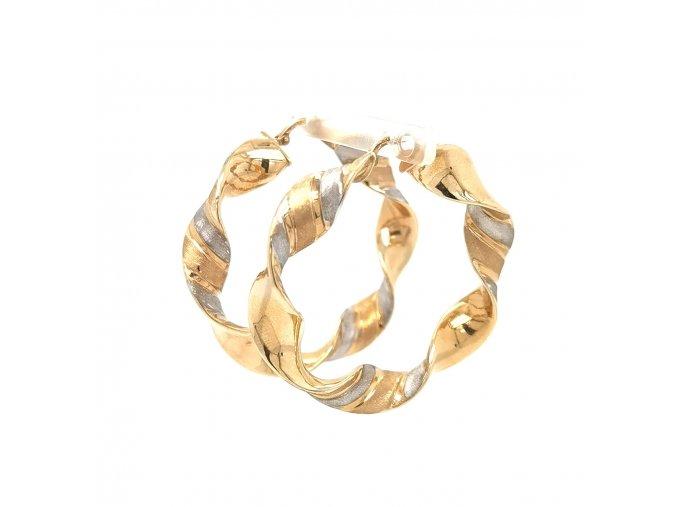 Dámské náušnice kruhy v kombinaci žluté a bílé zlato 585/1000