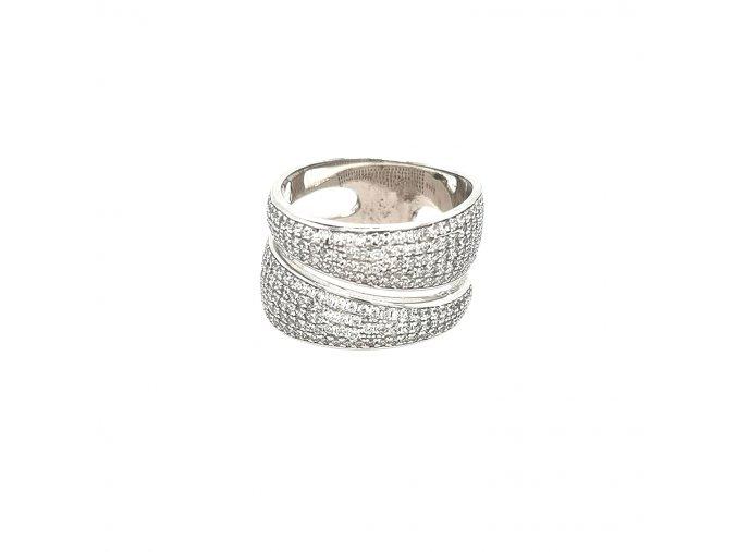 Dámský široký stříbrný prsten 925/1000 se zirkony
