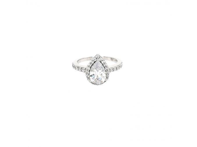 Dámský stříbrný prsten 925/1000 se zirkony a slzou