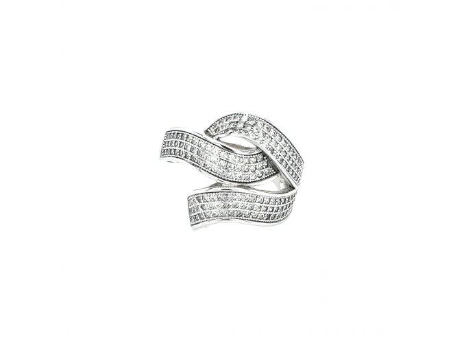 Dámský širší stříbrný prsten 925/1000 se zirkony