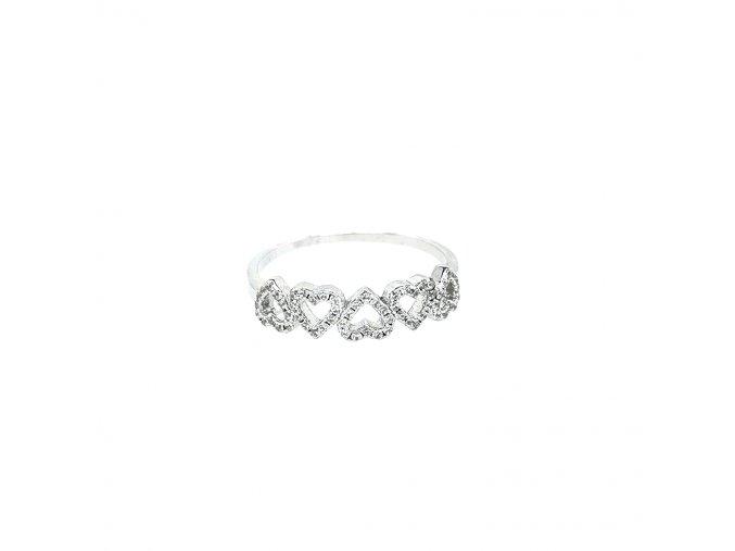 Dámský stříbrný prsten 925/1000 se zirkony a srdíčky