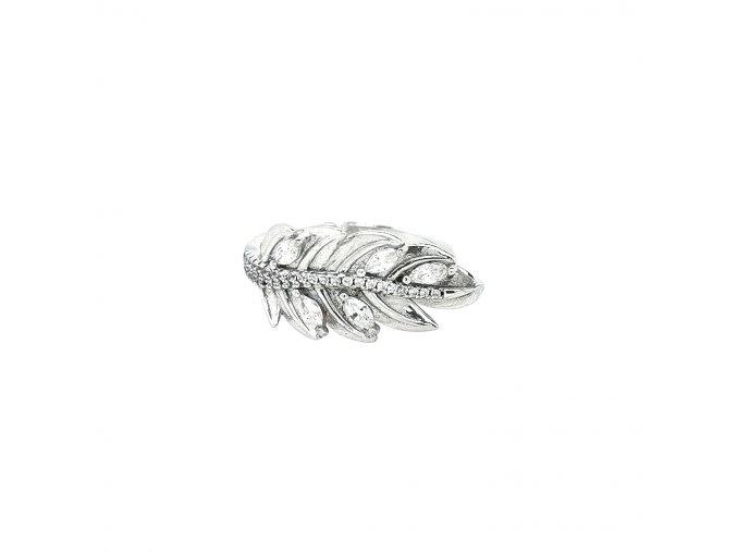 Dámský stříbrný prsten 925/1000 se zirkony a motivem pírka