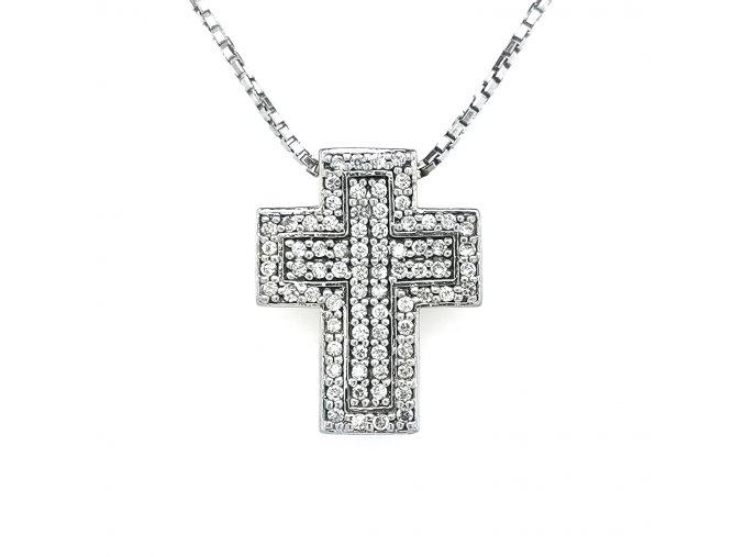 Dámský přívěšek ze stříbra 925/1000 se zirkony a motivem kříže
