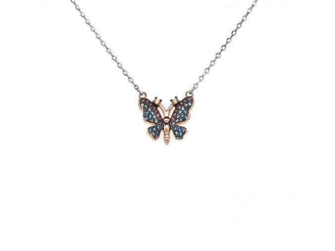 Dámský řetízek ze stříbra 925/1000 se zirkony  a motivem motýlka
