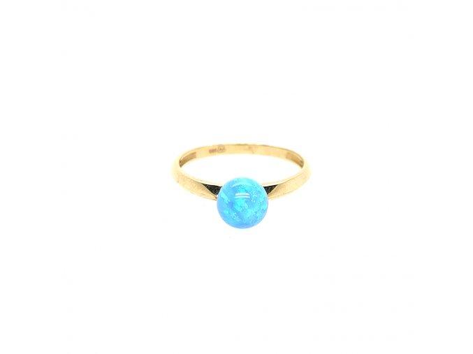 Dámský prsten ze žlutého zlata 585/1000 s opálem