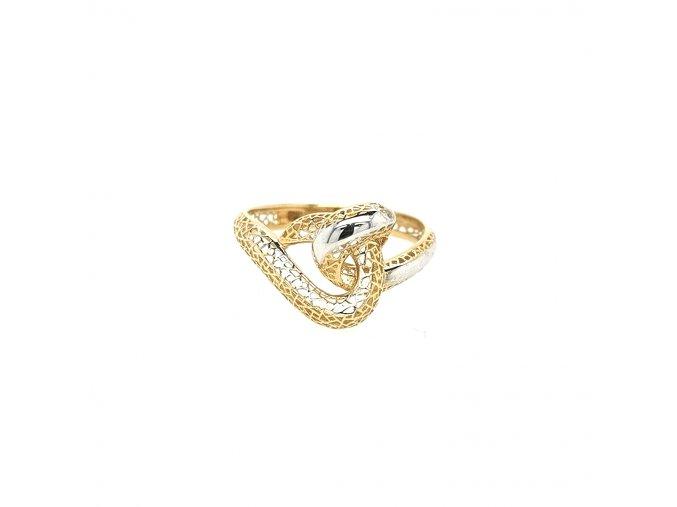 Dámský prsten ze žlutého zlata 585/1000 s bílým zlatem